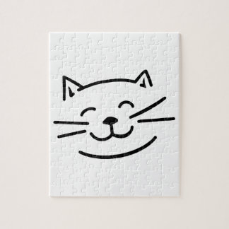 Smiling cat face jigsaw puzzle