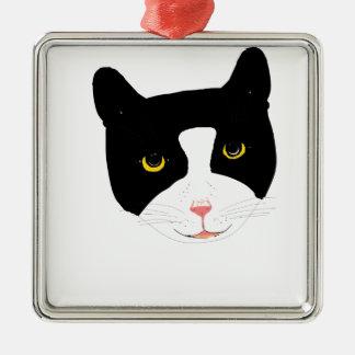 Smiling Cat Face Metal Ornament