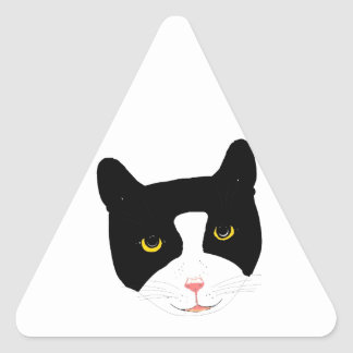 Smiling Cat Face Triangle Sticker