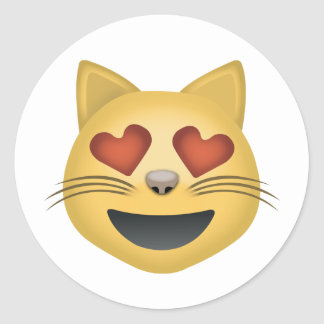 Smiling Cat Face With Heart Shaped Eyes Emoji Classic Round Sticker