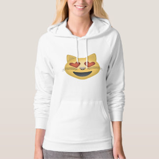 Smiling Cat Face With Heart Shaped Eyes Emoji Hoodie