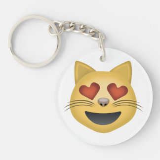 Smiling Cat Face With Heart Shaped Eyes Emoji Keychain