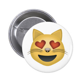 Smiling Cat Face With Heart Shaped Eyes Emoji Pinback Button