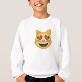 Smiling Cat Face With Heart Shaped Eyes Emoji Sweatshirt