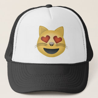 Smiling Cat Face With Heart Shaped Eyes Emoji Trucker Hat