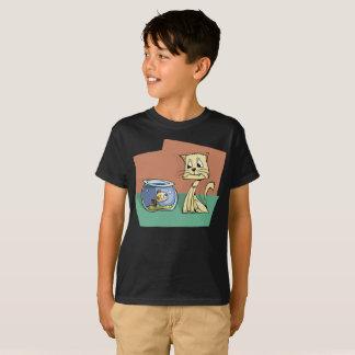 Smiling Cat Smiling Fish Bowl Stare Kids T-Shirt