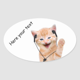 smiling cat with headphones oval sticker