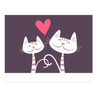 Smiling Cats in Love Purple Postcard
