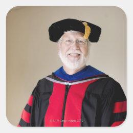 Smiling Caucasian profession in formal robe Square Sticker