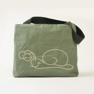 Smiling Chalk Snail - Canvas Utility Tote