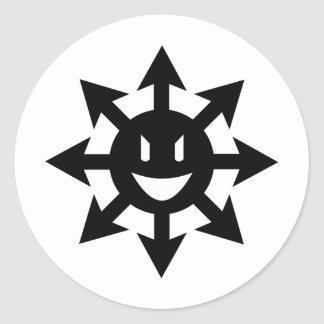 Smiling chaos star classic round sticker
