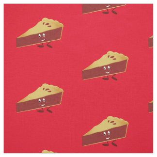 Smiling cherry pie slice fabric
