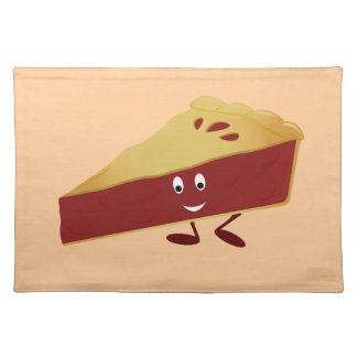 Smiling cherry pie slice place mats