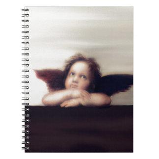 Smiling Cherub Boy Sistine Madonna Remake Spiral Notebook