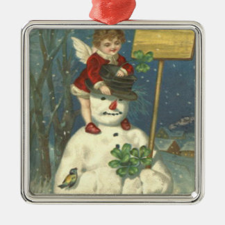 Smiling Cherub Snowman Shamrock Songbird Metal Ornament