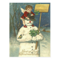 Smiling Cherub Snowman Shamrock Songbird Postcard