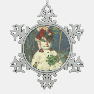 Smiling Cherub Snowman Shamrock Songbird Snowflake Pewter Christmas Ornament