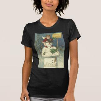 Smiling Cherub Snowman Shamrock Songbird T-Shirt