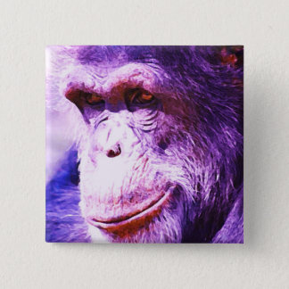 Smiling Chimpanzee Pinback Button