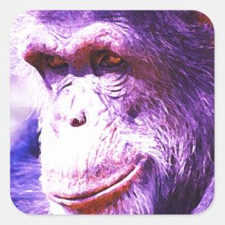 Smiling Chimpanzee Square Sticker