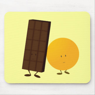 Smiling chocolate bar and orange mouse pad