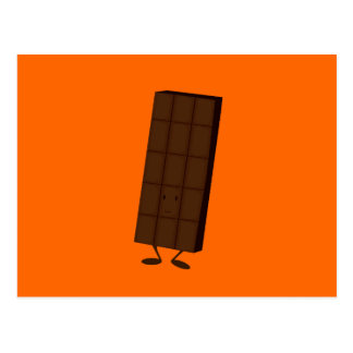 Smiling chocolate bar postcard