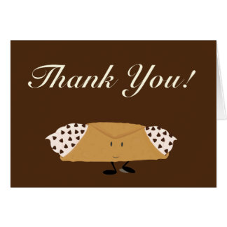 Smiling chocolate chip cannolo thank you card