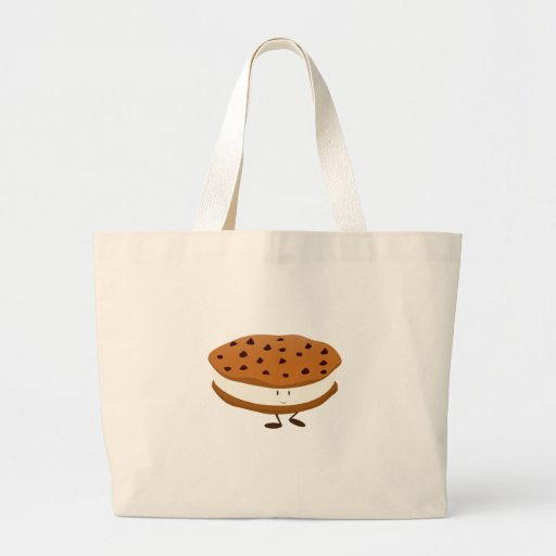 Smiling chocolate chip cookie sandwich tote bag