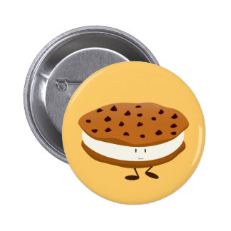 Smiling chocolate chip cookie sandwich button