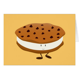 Smiling chocolate chip cookie sandwich greeting card