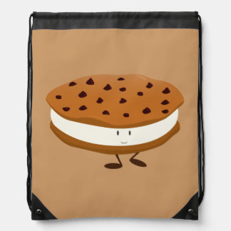 Smiling chocolate chip cookie sandwich drawstring bag