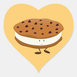 Smiling chocolate chip cookie sandwich heart sticker