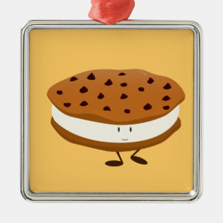 Smiling chocolate chip cookie sandwich metal ornament