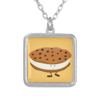 Smiling chocolate chip cookie sandwich custom necklace