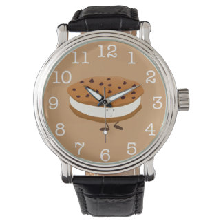 Smiling chocolate chip cookie sandwich wrist watch