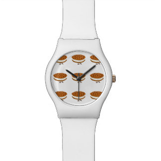 Smiling chocolate chip cookie sandwich wristwatch