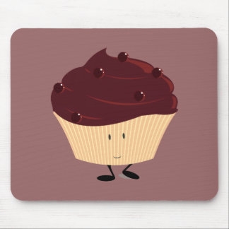 Smiling chocolate frosted cupcake mouse pad