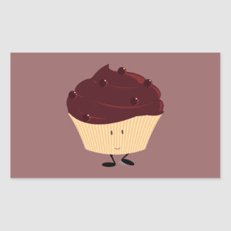 Smiling chocolate frosted cupcake rectangular sticker