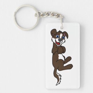 Smiling Chocolate Puppy Dog with Blaze Roll Over Keychain