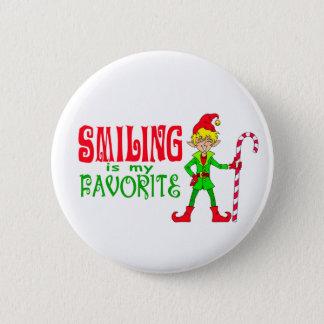 Smiling Christmas Elf Button