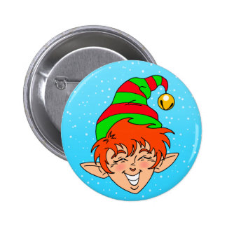 Smiling Christmas Elf Pinback Button