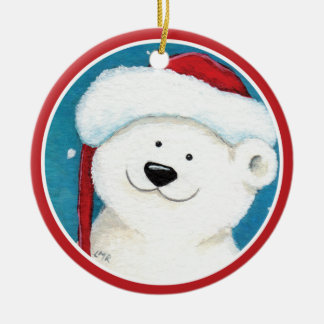 Smiling Christmas Polar Bear Painting Ceramic Ornament