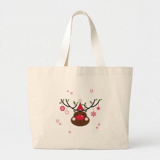 Smiling Christmas Reindeer Large Tote Bag