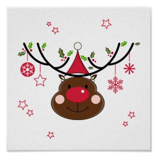 Christmas Reindeer Posters | Zazzle