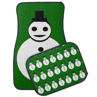 Smiling Christmas Snowman Car Mat Set
