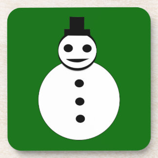 Smiling Christmas Snowman Cork Coaster
