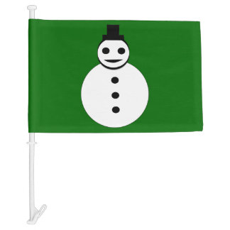 Smiling Christmas Snowman Custom Car Flag