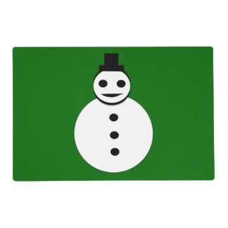 Smiling Christmas Snowman Custom Paper Placemat
