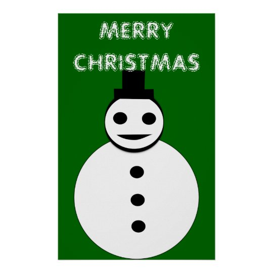 Smiling Christmas Snowman Poster