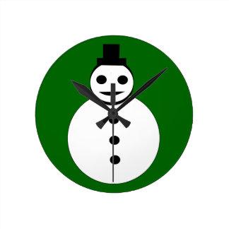 Smiling Christmas Snowman Wall Clock